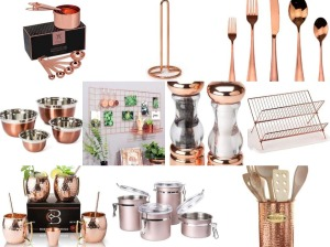 Rose gold kitchen accessories - collage