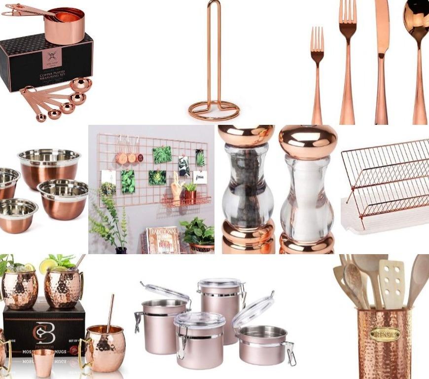 Rose gold kitchen accessories - collage