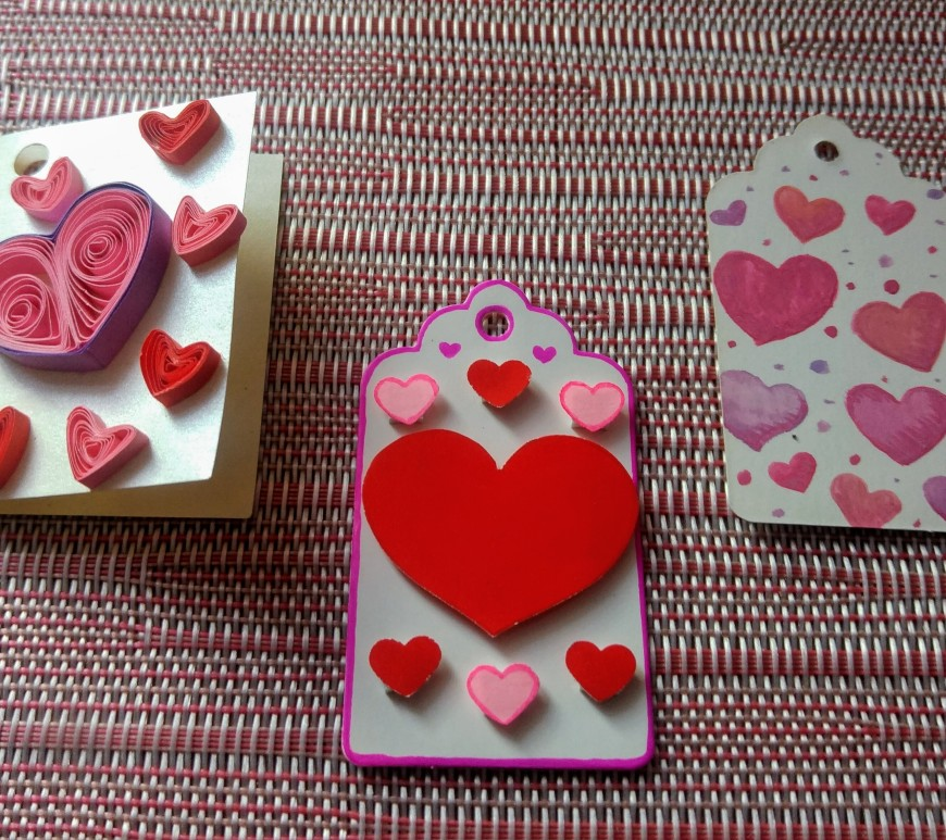 3 heart DIY Valentine gift tags