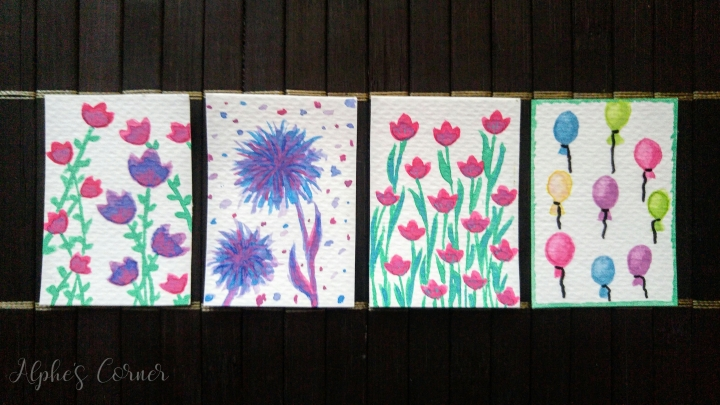 4 Watercolour mini tags - flowers and balloons