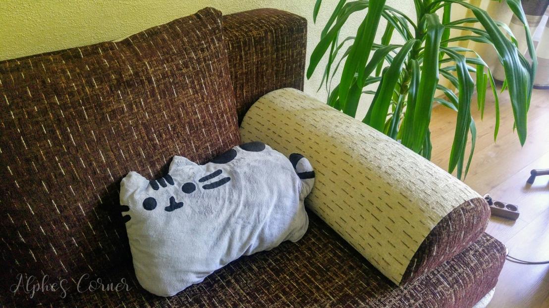 Handmade Pusheen pillow on a couch