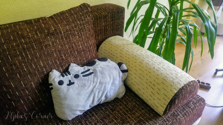 Handmade Pusheen pillow on a couch