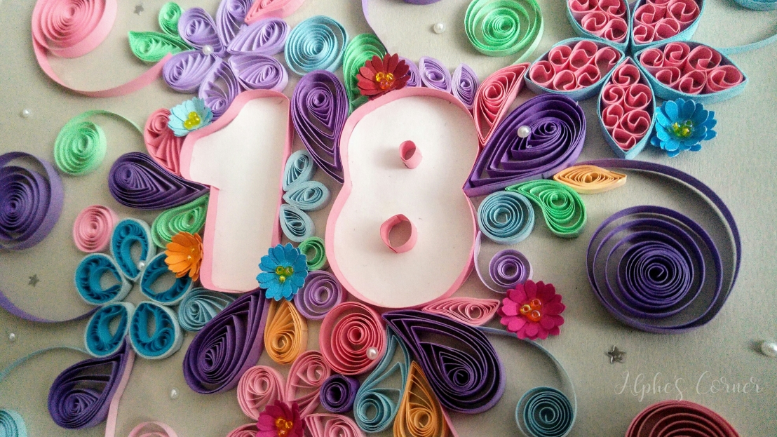 A quilled floral birthday card