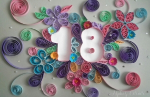 A number quilled card for 18th birthday