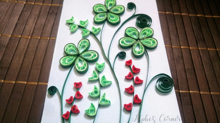 A quilled card - Father's Day - green theme