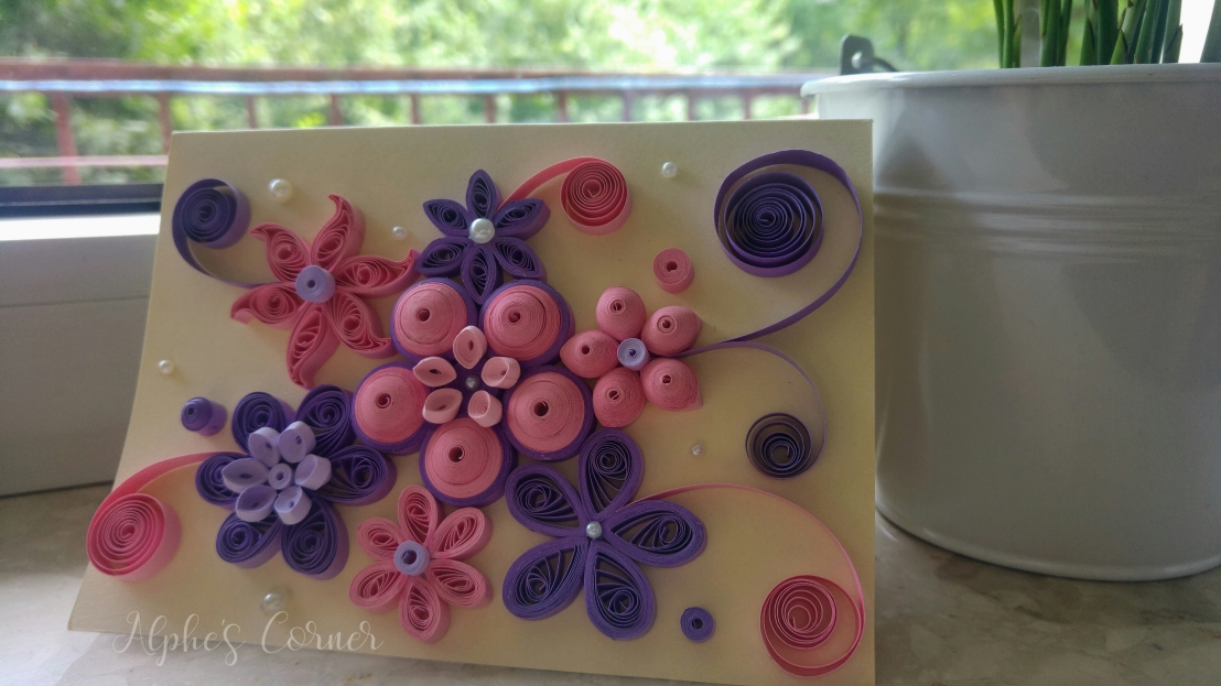 Pink and purple quilling floral card