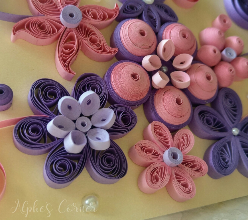 Quilling card - Mother's Day - pink and purple flowers