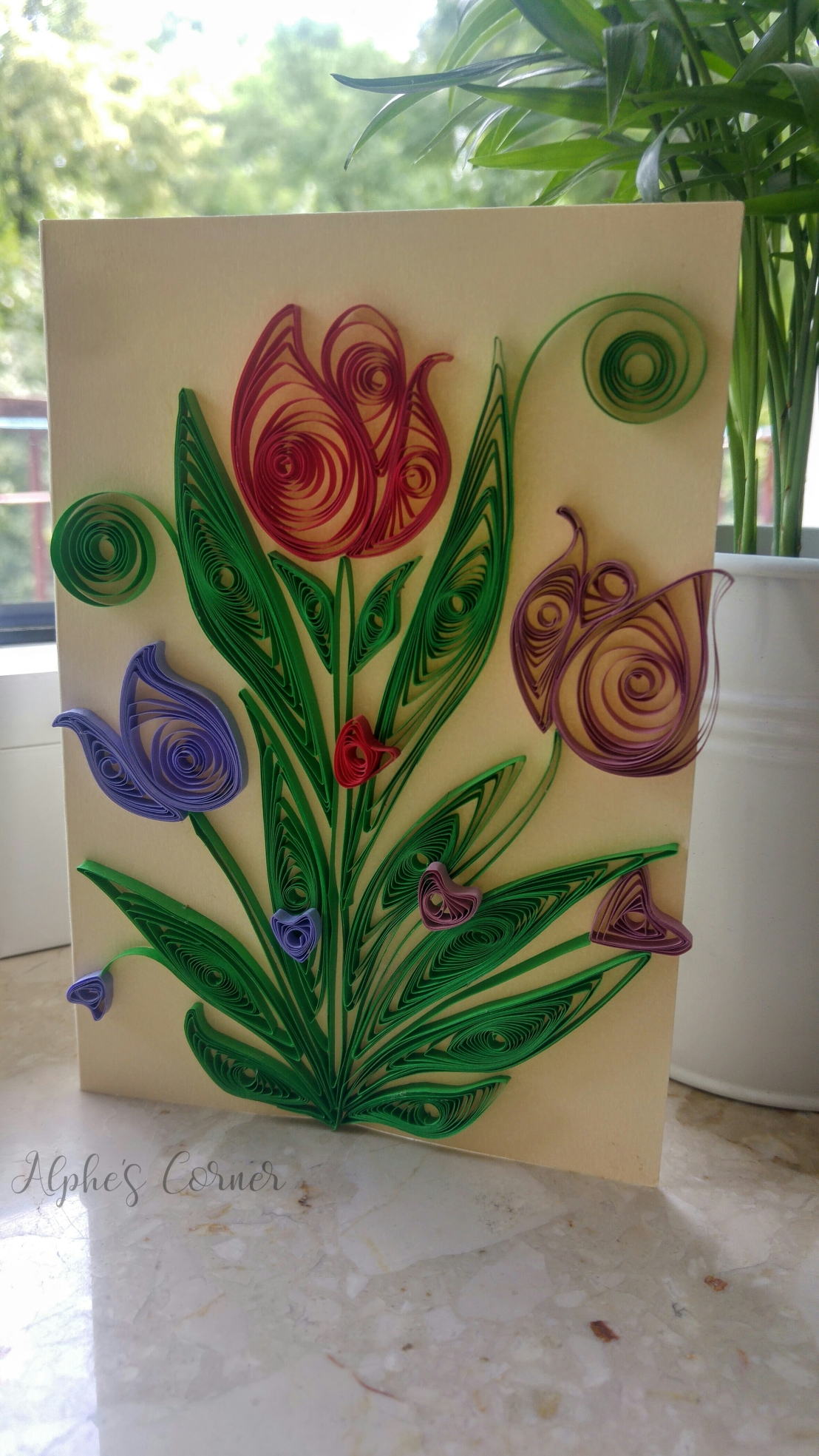 Quilling handmade card - tulips