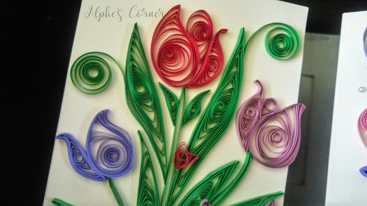Quilling paper tulips - red, purple and pink
