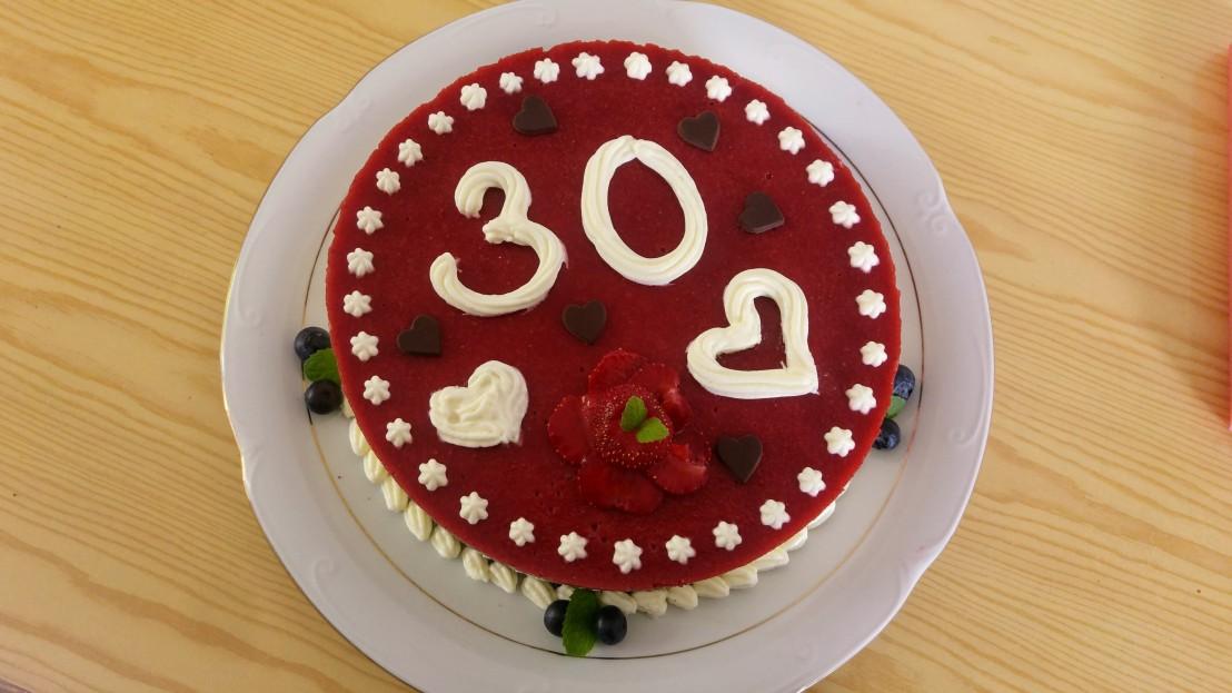White and dark chocolate strawberry layer cake - 30th