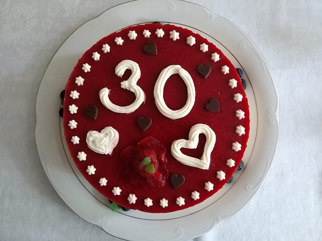 30th white and dark chocolate strawberry layer cake