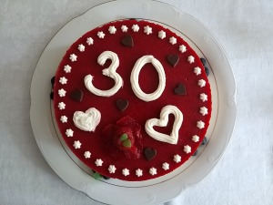 30th white and dark chocolate strawberry layer cake