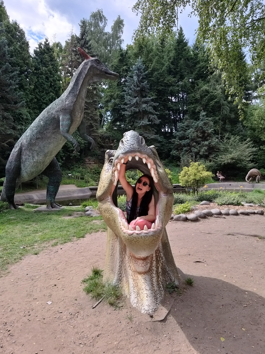 Me inside a hollow dinosaur head pretending I'm being eaten