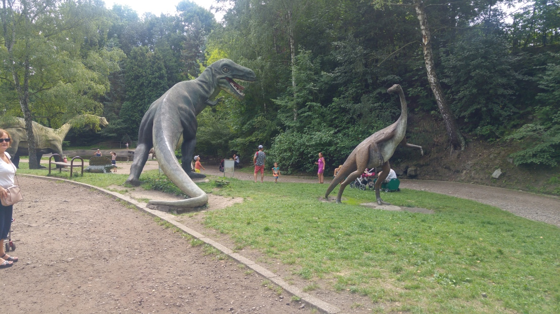 A valley of dinosaur statues in Chorzow zoo