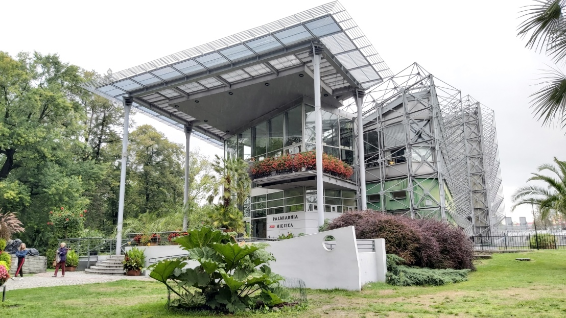 The outside of the palm house in Gliwice