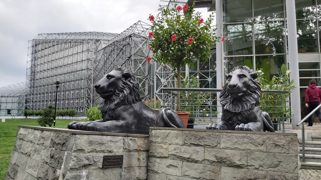 Lion statues by the entrance to the palm house in Gliwice