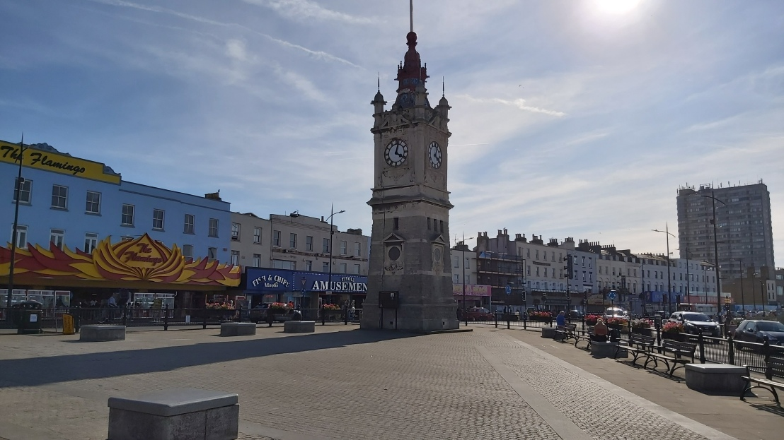 A clock tower by the beach in Margate
