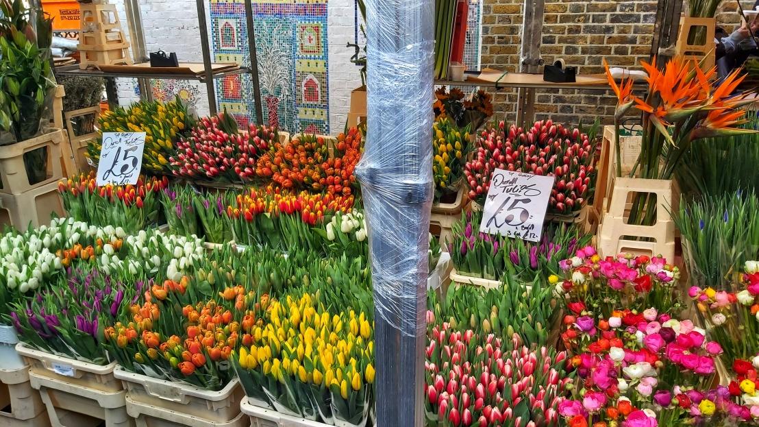 Cut tulips in Columbia Road flower market