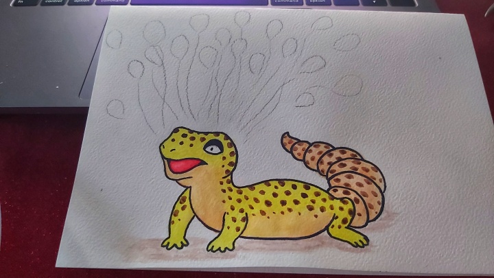 Watercolour cute leopard gecko and a sketch of balloons