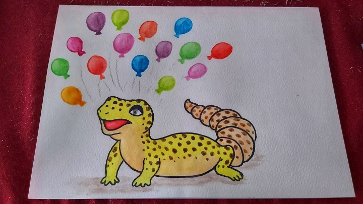 Watercolour leopard gecko and colourful balloons