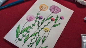 A completed watercolour Mother's Day card