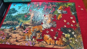 Jigsaw puzzle in progress - tigers