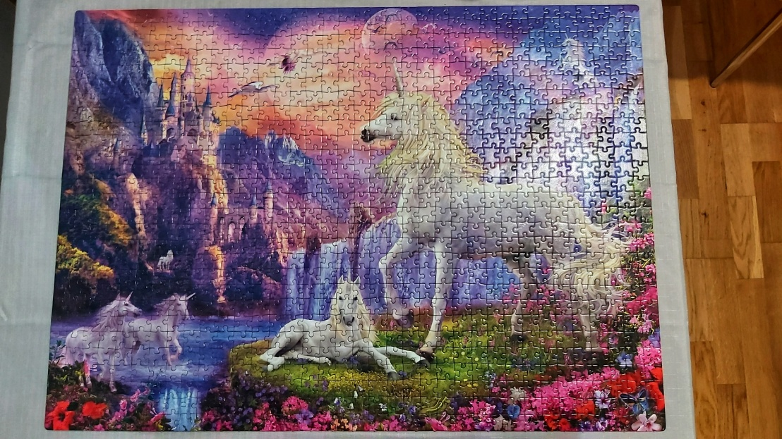 A completed jigsaw puzzle - unicorns