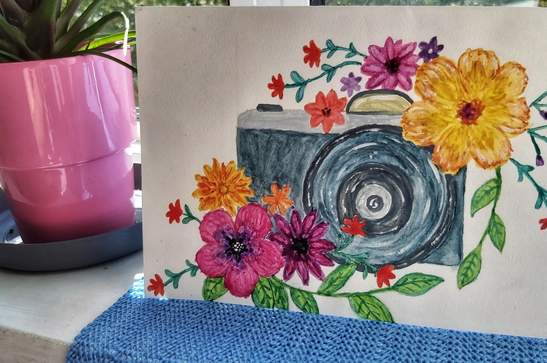 Watercolour Card – Camera withFlowers