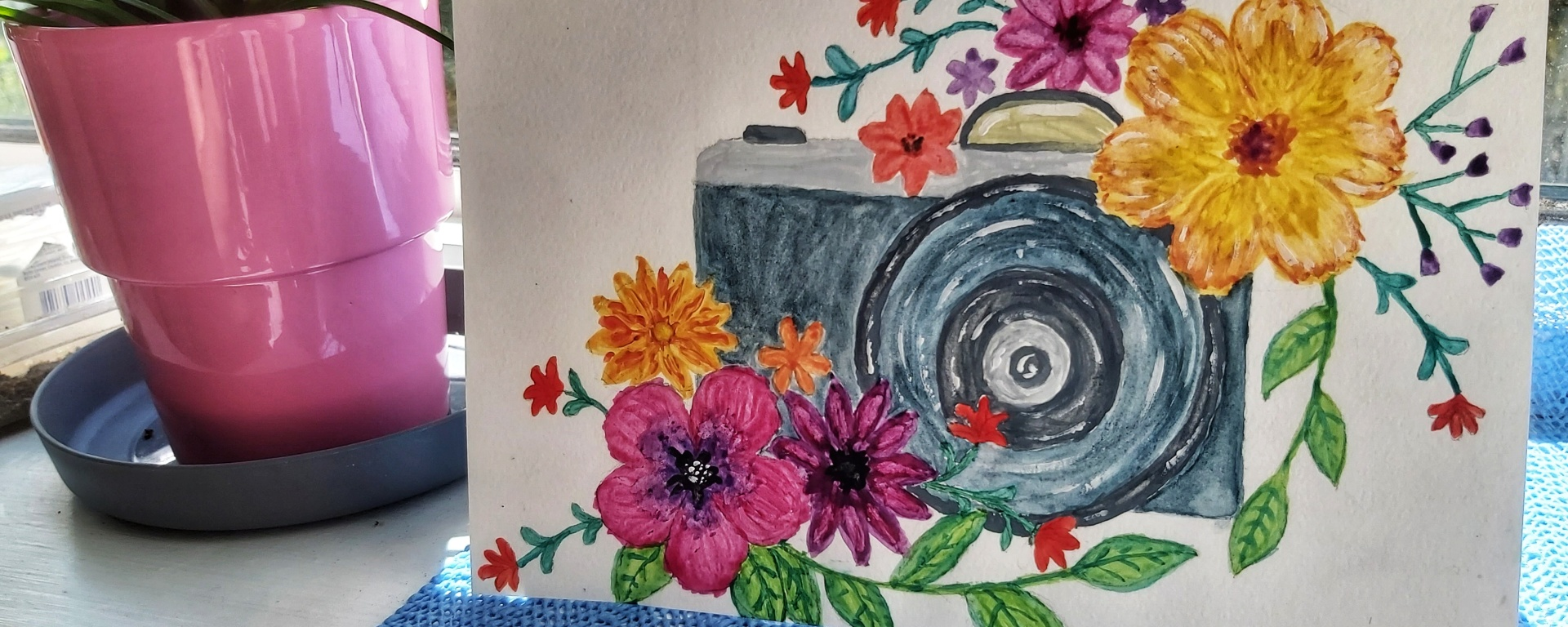 Finished watercolour card - camera with flowers