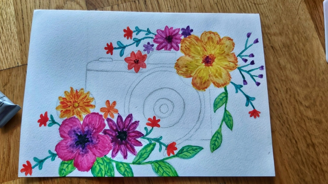 Watercolour card - camera with flowers - step 2