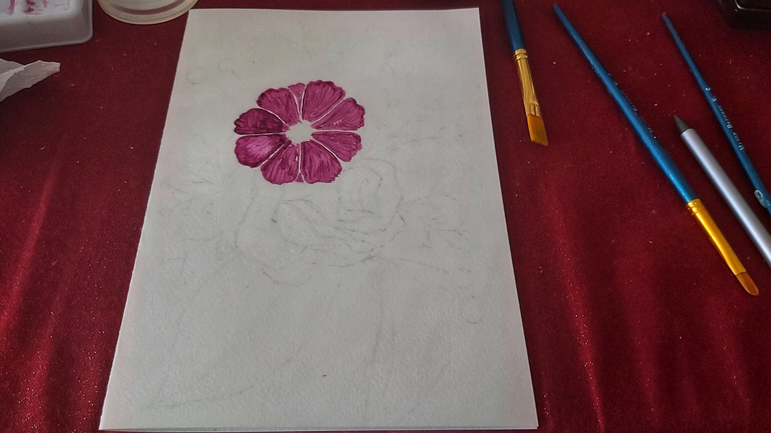 Watercolour flower and a sketch of the rest of the card