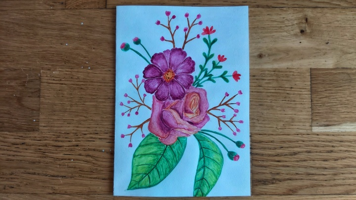 Finished watercolour floral birthday card