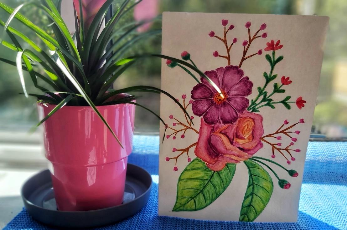 Watercolour Birthday Card –Flowers