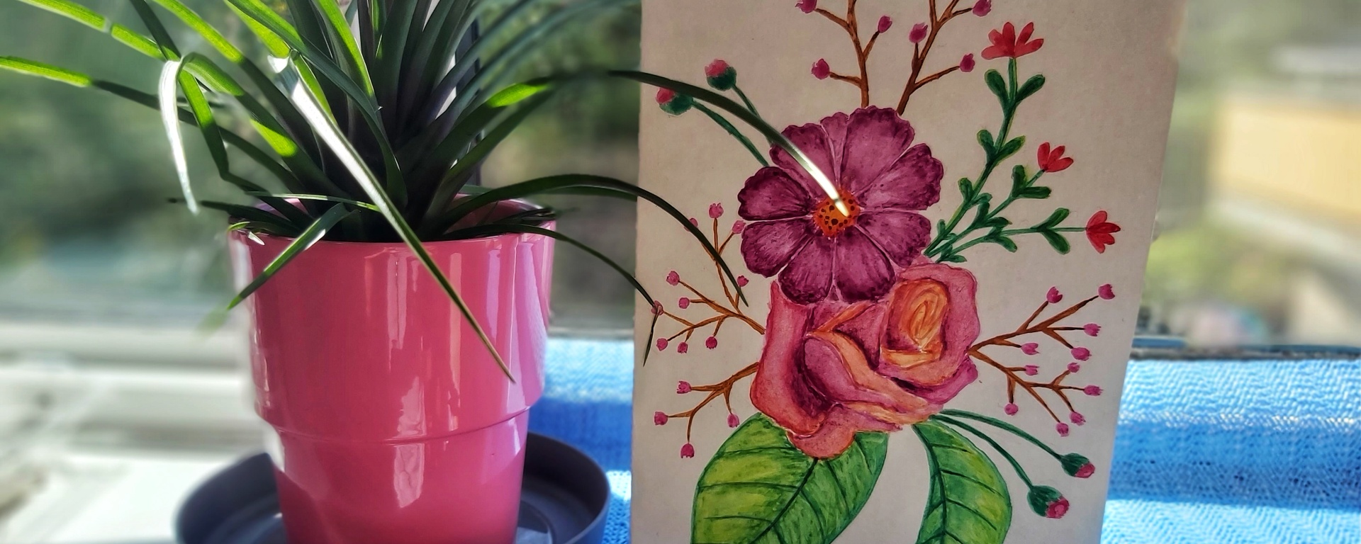 Watercolour floral birthday card