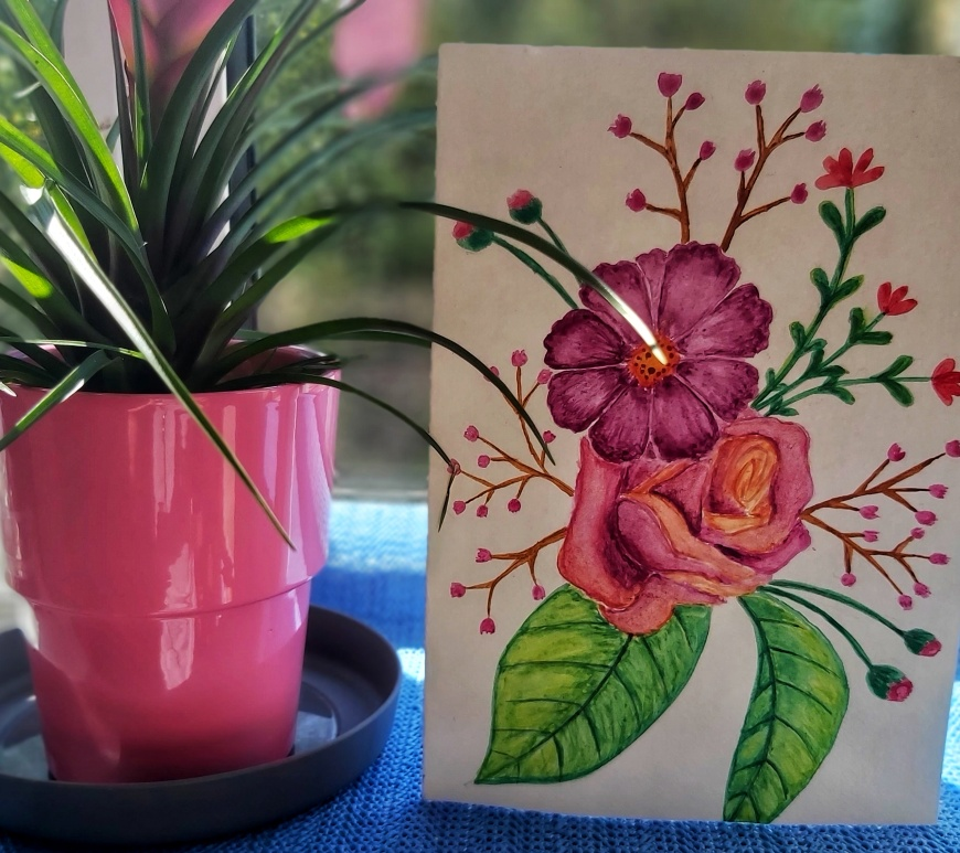 Watercolour floral birthday card