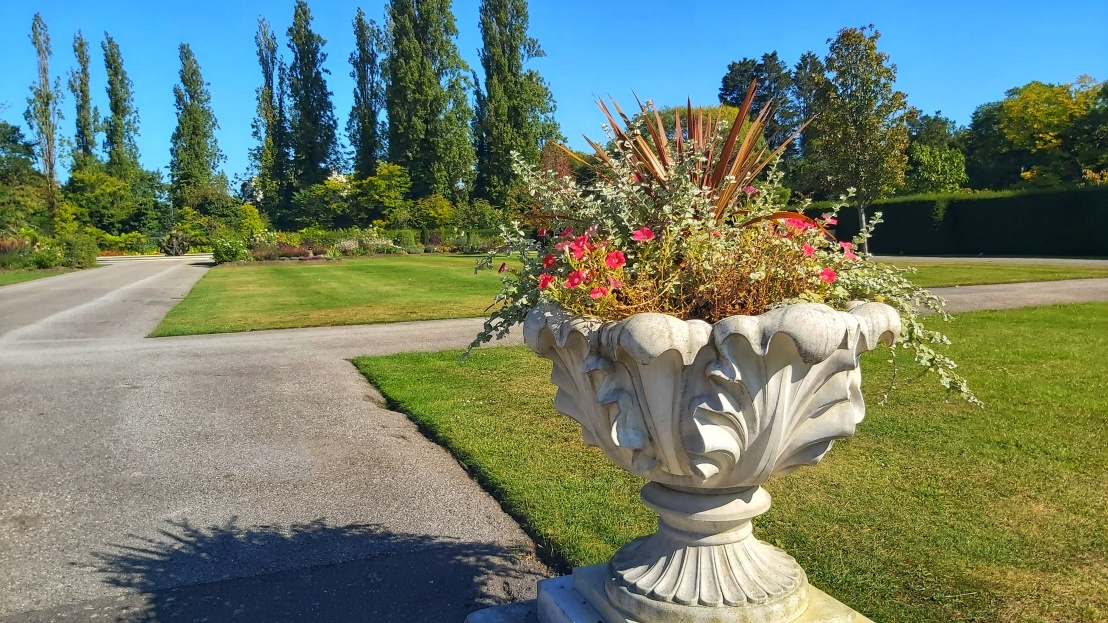 Flowers in a carved stone pot in Regent's Park in London