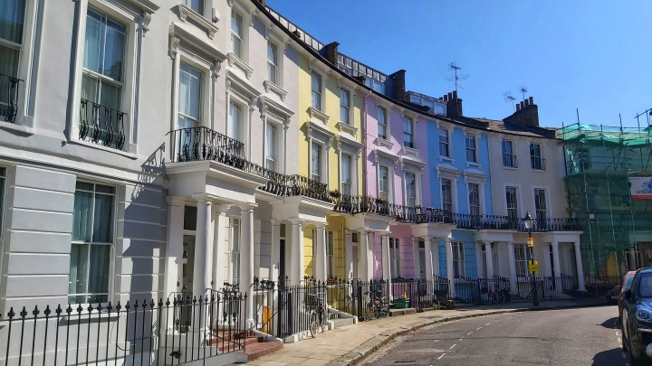 Pastel coloured houses in Primrose Hill, London