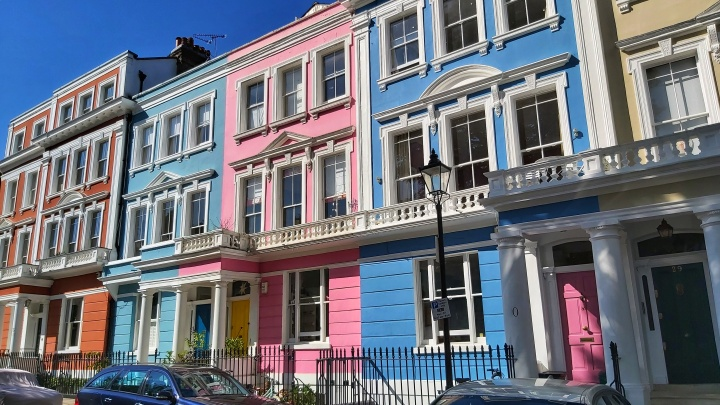 Pink and blue houses in Primrose Hill, London