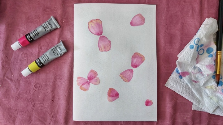 Pink watercolour poppies - first layer