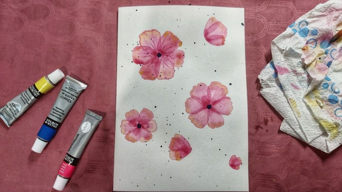 Pink watercolour poppies - finished flowers