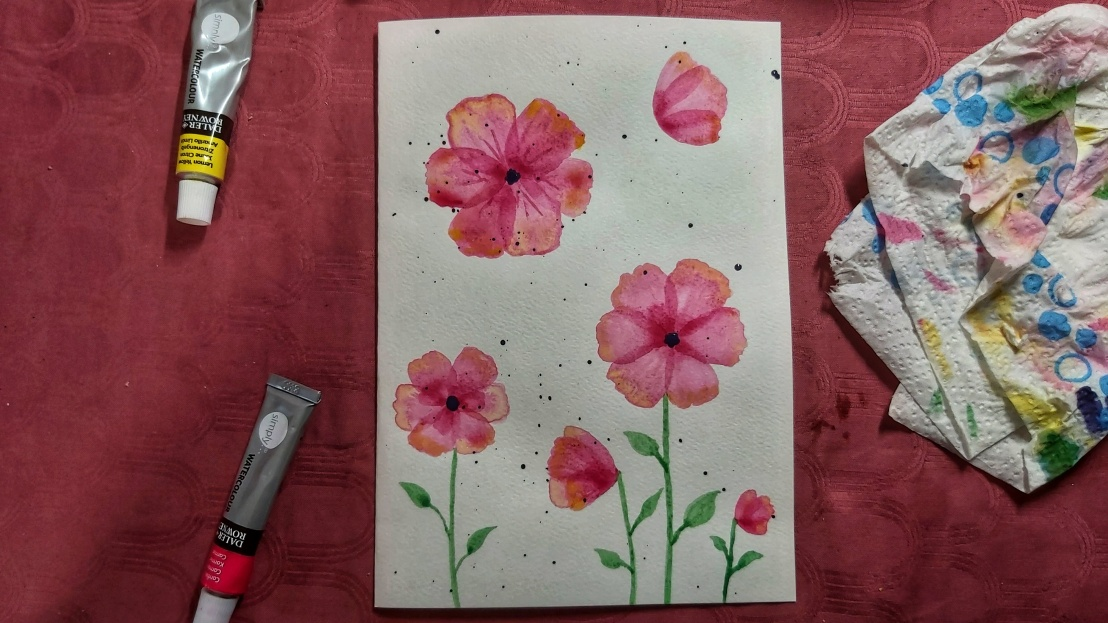 Pink watercolour poppies - card in progress - added some stems