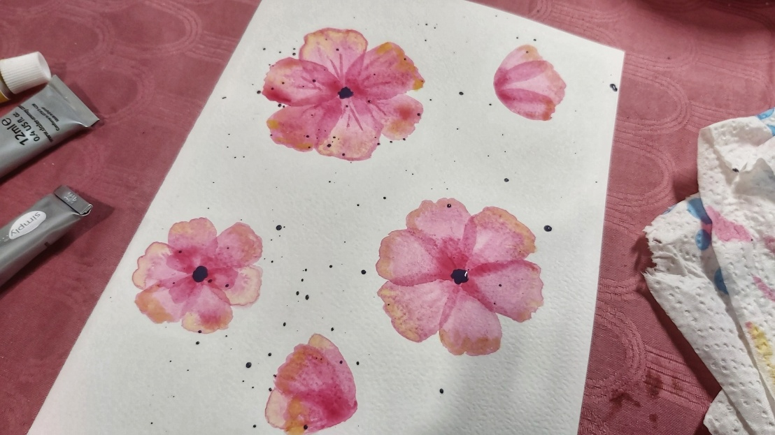 Pink watercolour poppies - card in progress - finished flowers