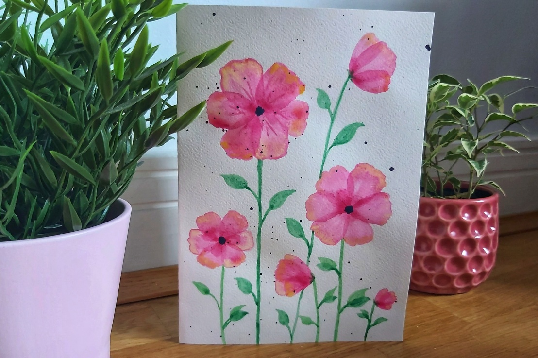 Pink Watercolour Poppies – BirthdayCard