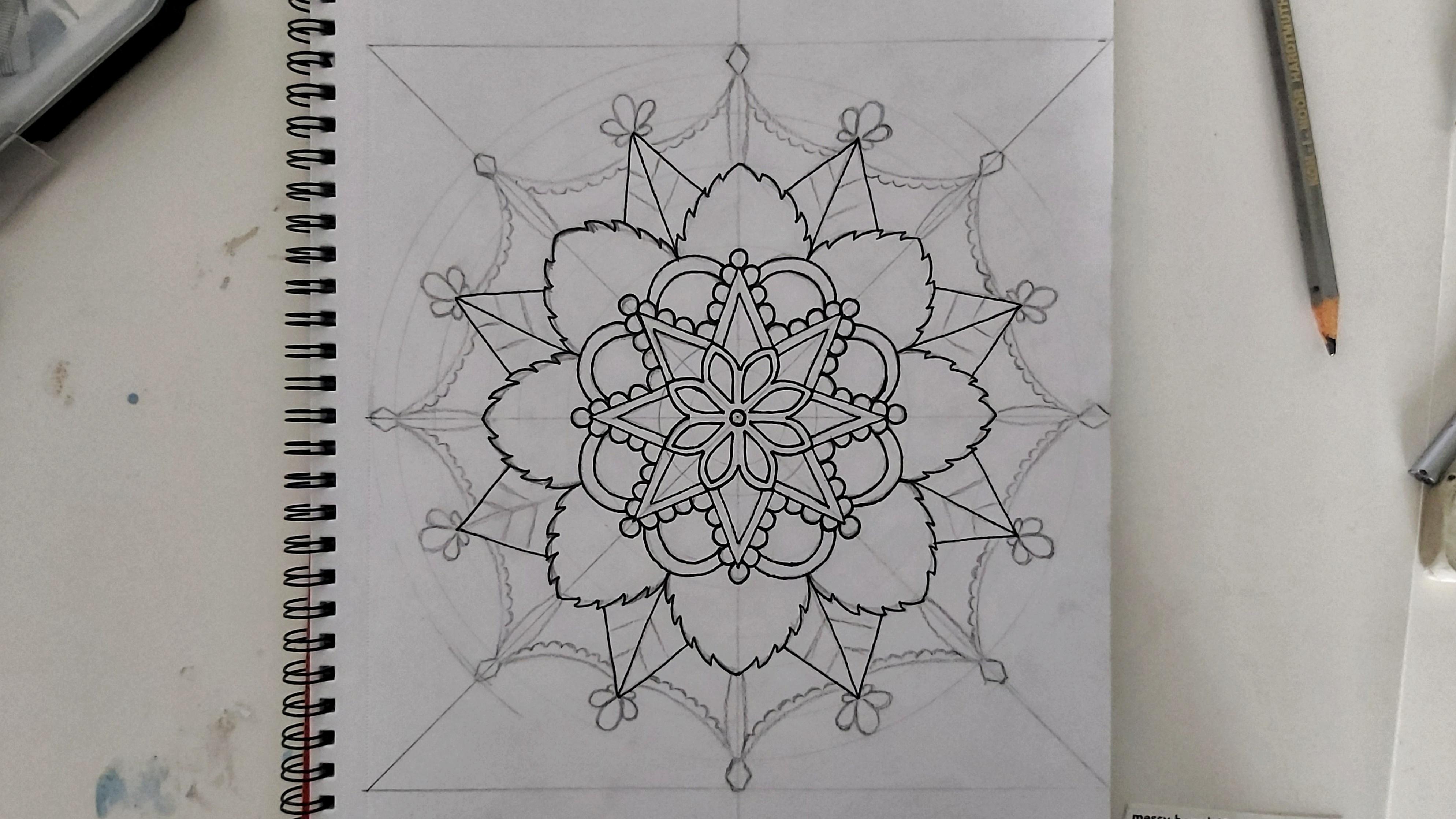 Mandala - black liner pen over pencil