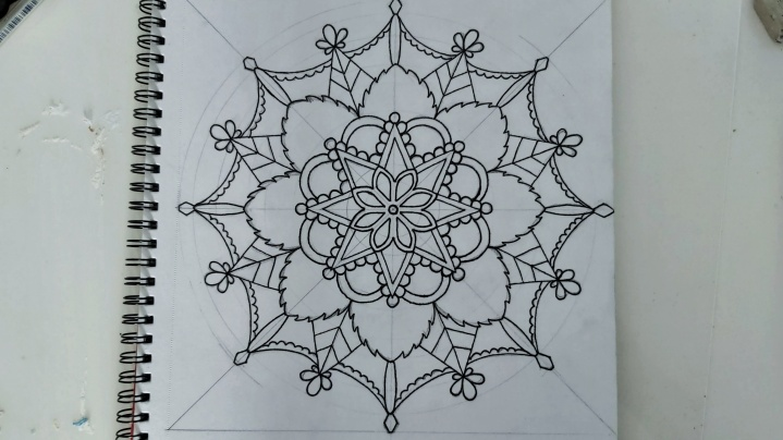Mandala in black liner pen