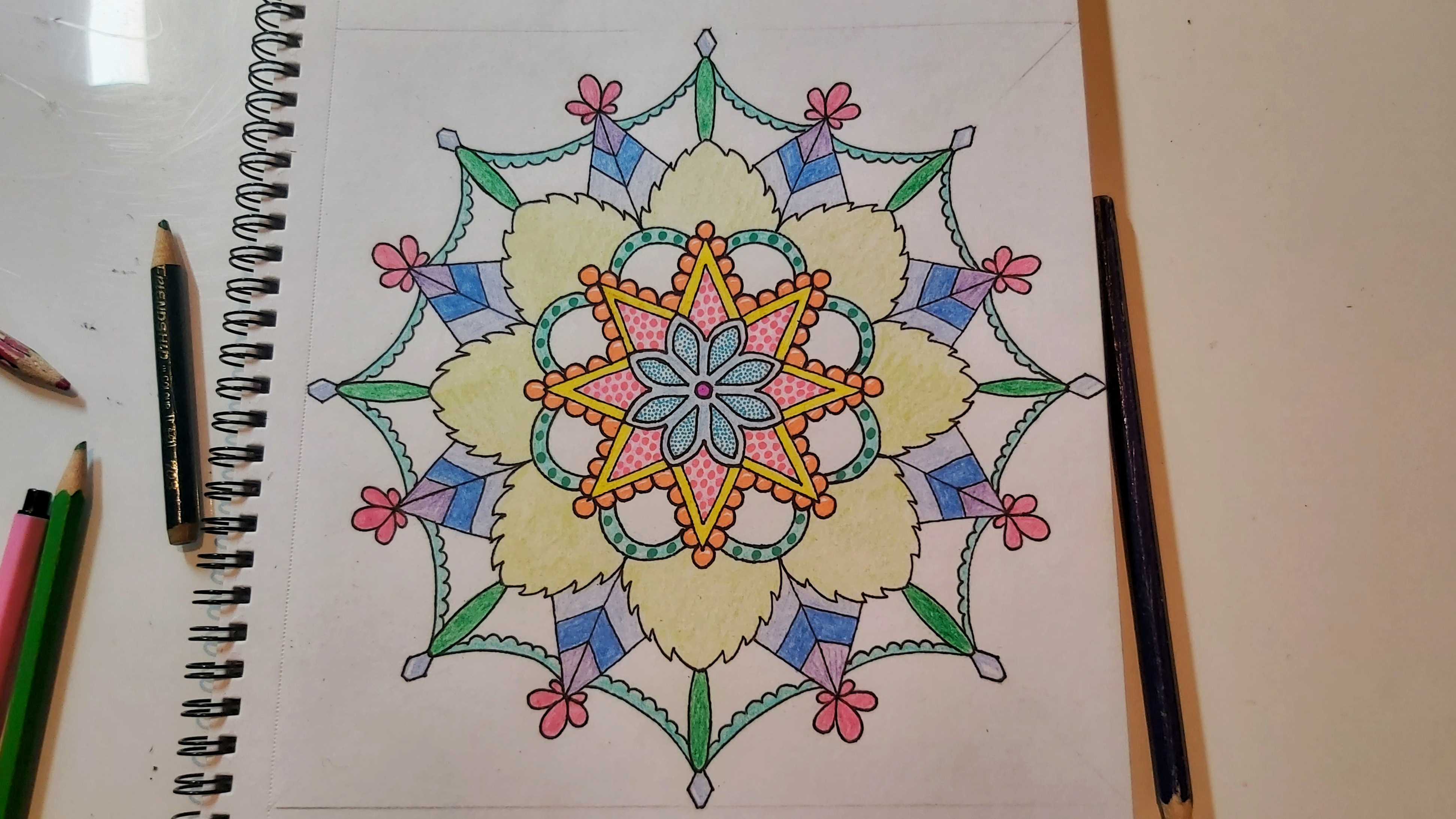 Complete mandala coloured with liner pens