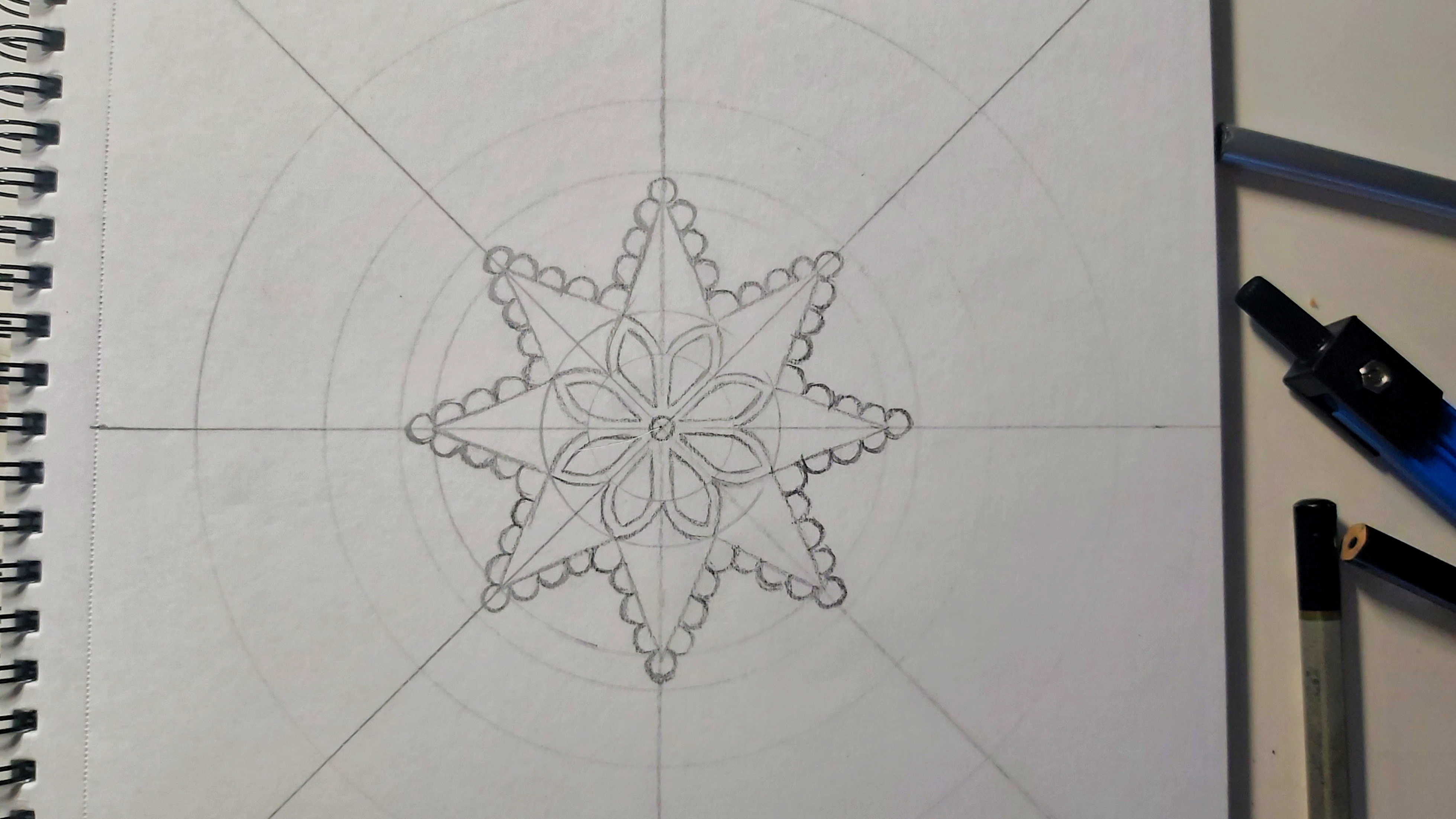 The first two levels in circles, pencil