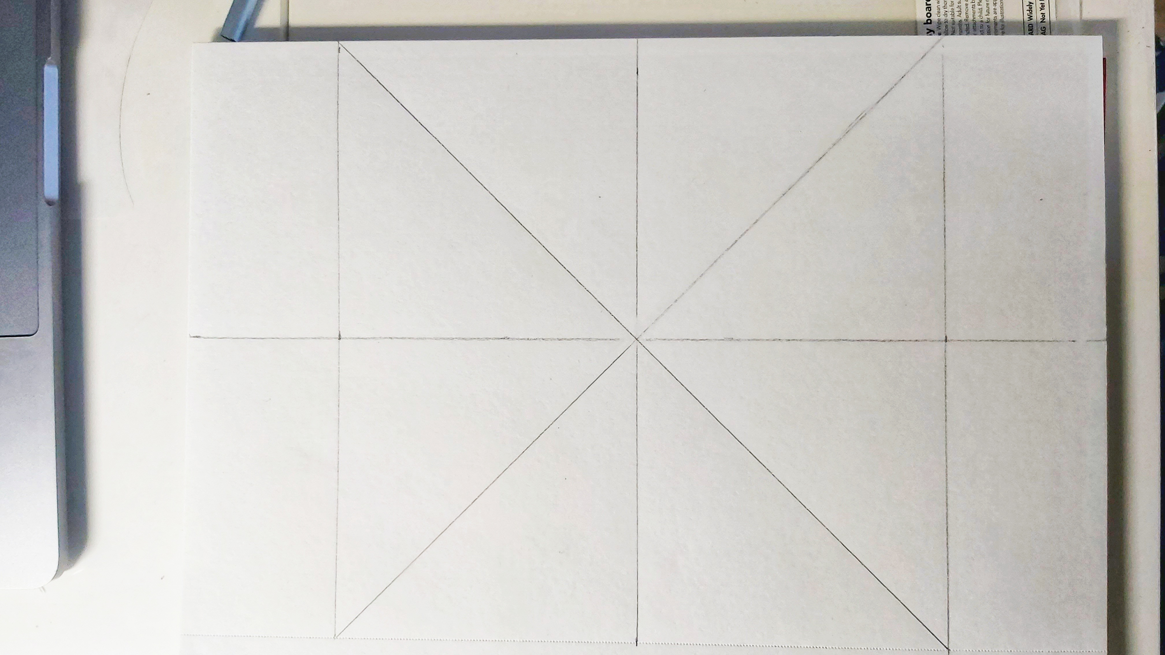 Square divided into 8 pieces, pencil