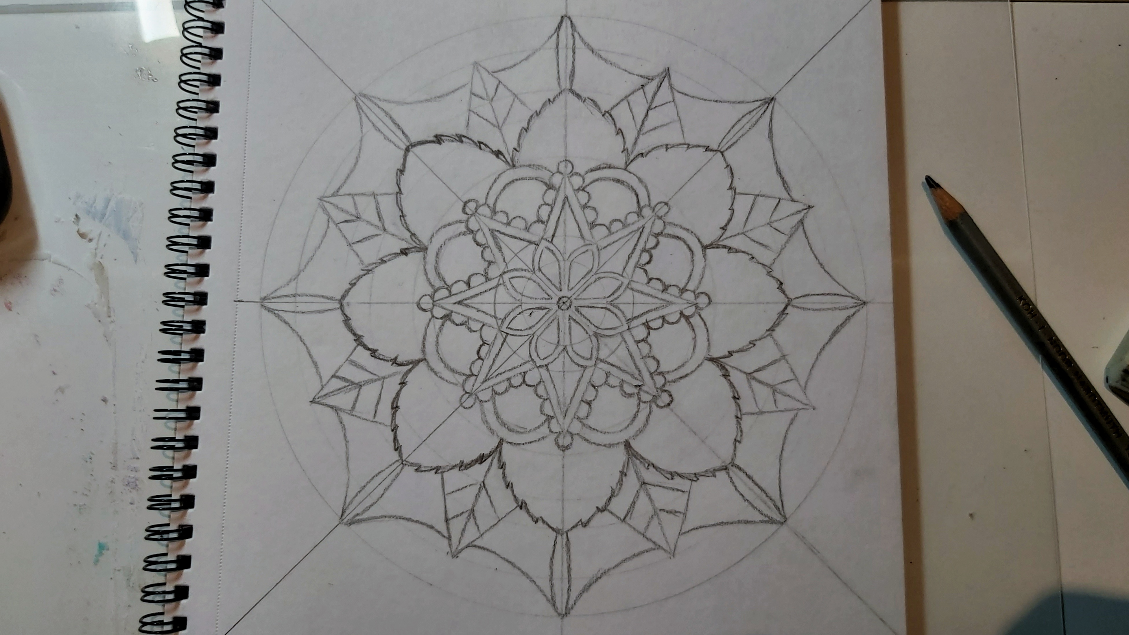 Nearly complete mandala in pencil