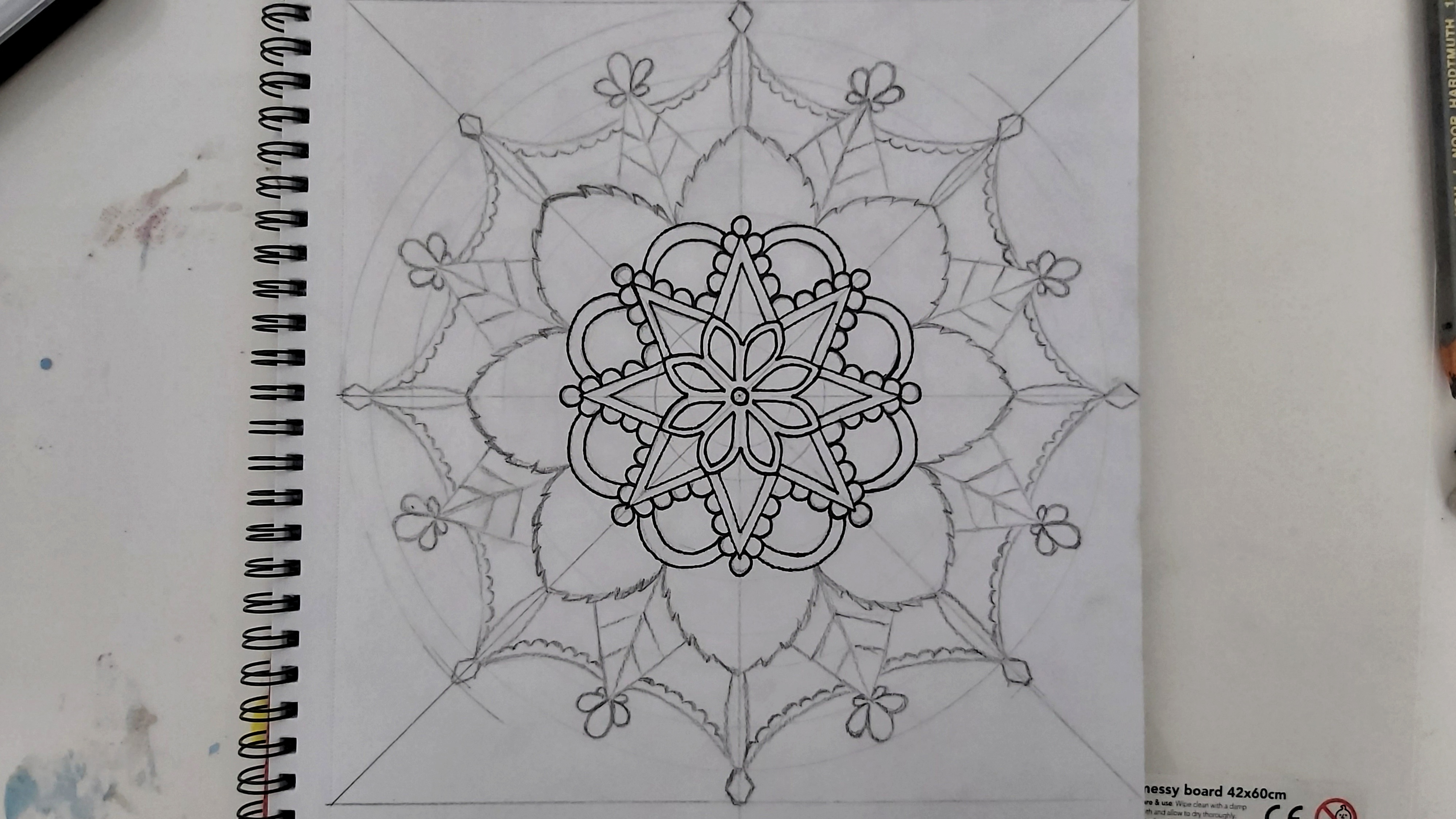 Mandala - the first few levels in black liner pen